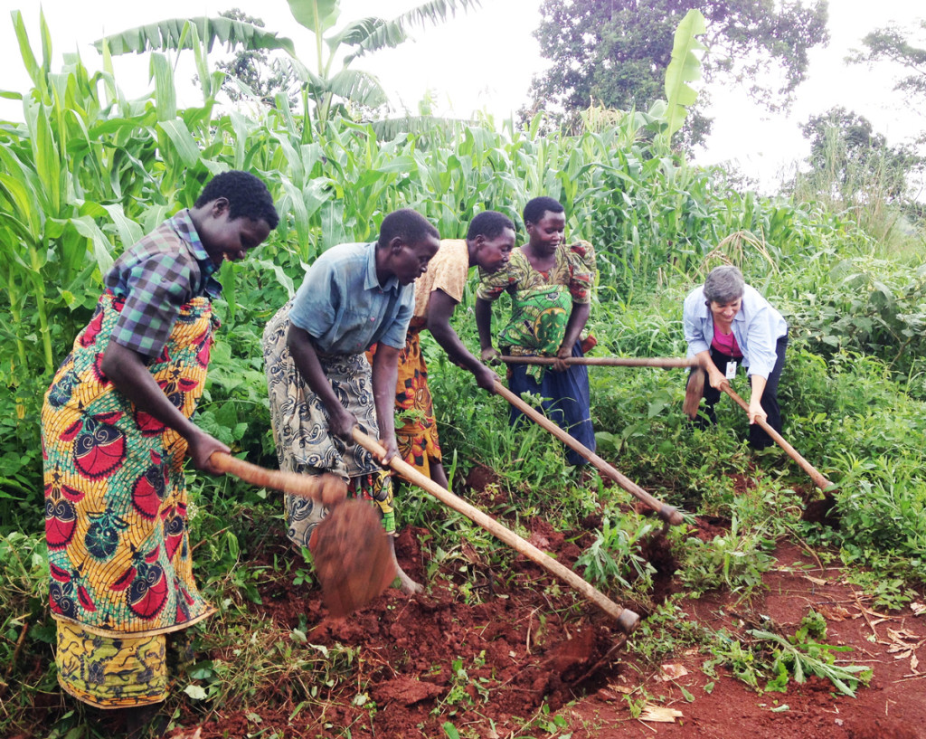 Mary Dailey Brown tries farming in the DRC.