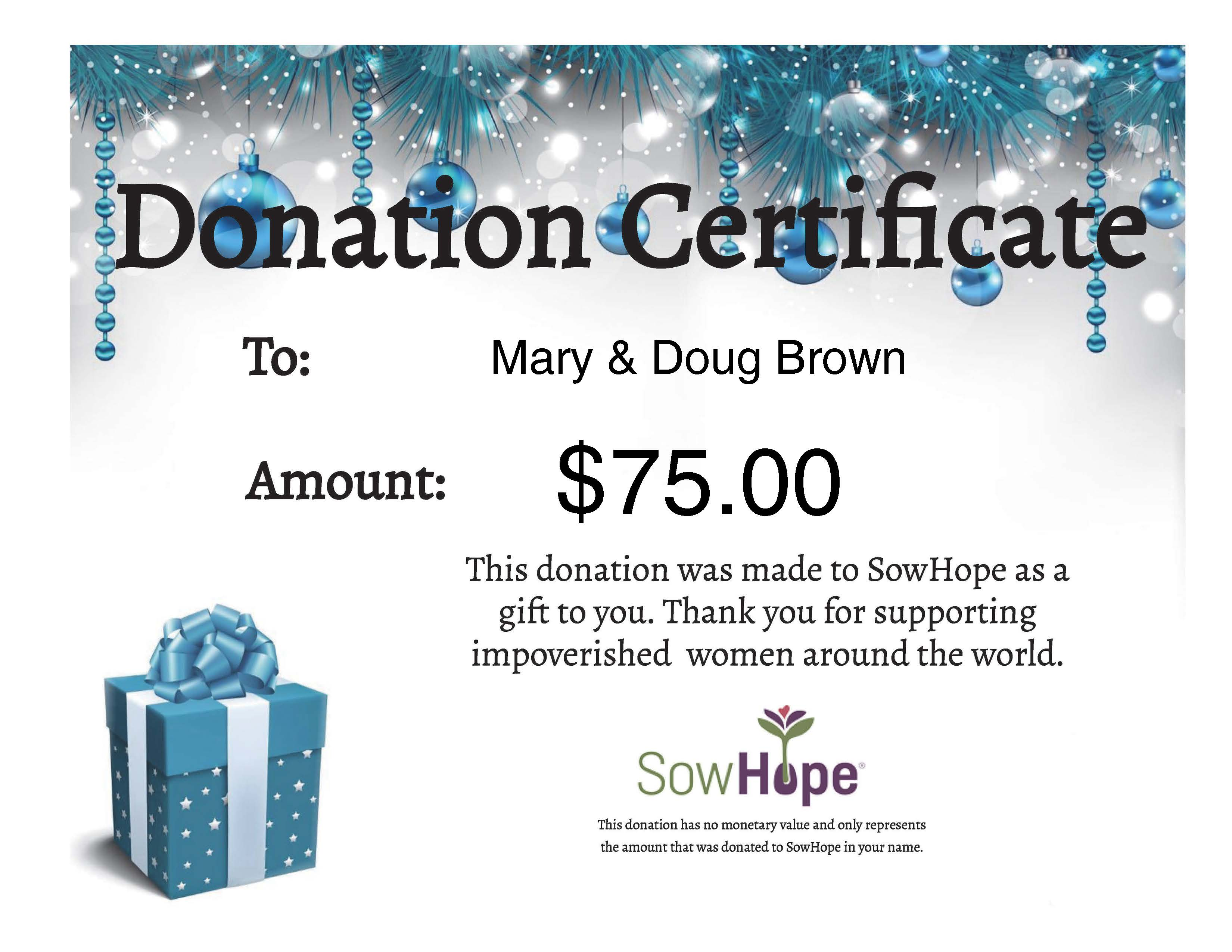 donation gift certificate sowhope
